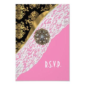 Rose et dentelle blanche noire d'or épousant carton d'invitation 8,89 cm x 12,70 cm