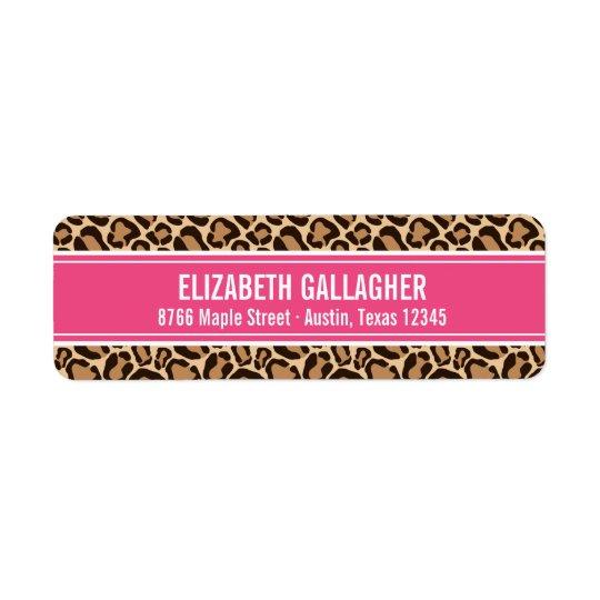 Rose et empreinte de léopard étiquette d'adresse retour