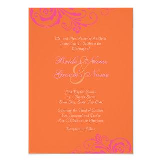 Rose et faire-part de mariage chic orange