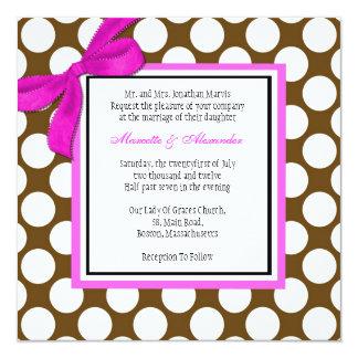 Rose et faire-part de mariage de point de polka de carton d'invitation  13,33 cm