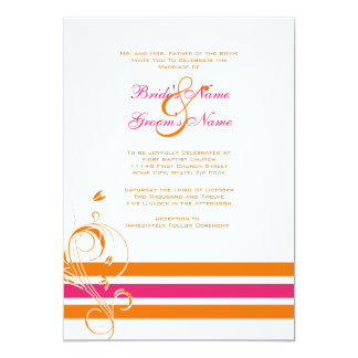 Rose et faire-part de mariage floral orange de