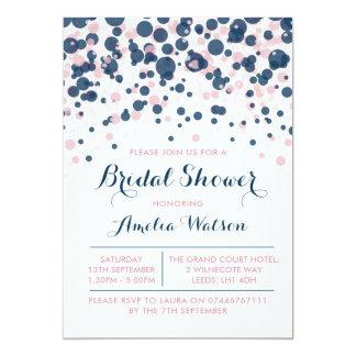 Rose et invitation nuptiale de douche de confettis