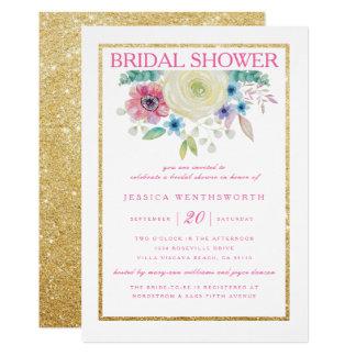 Rose et invitation nuptiale de douche d'or