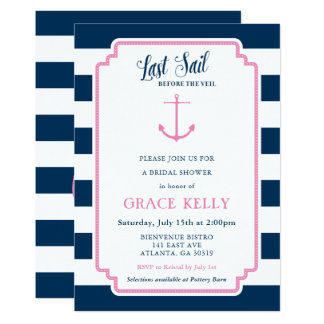 Rose et invitation nuptiale nautique de douche de