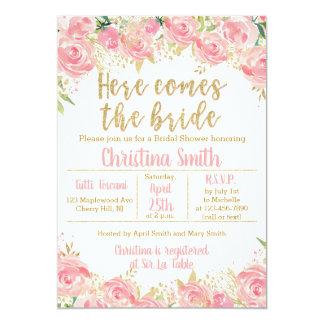 Rose et invitations nuptiales florales de douche