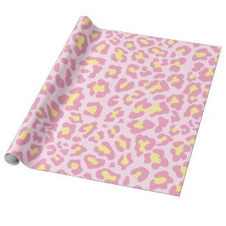 Rose et jaune d'empreinte de léopard papier cadeau
