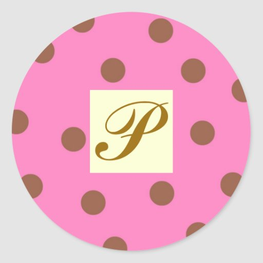 Rose et lettre P de pois de Brown Sticker Rond