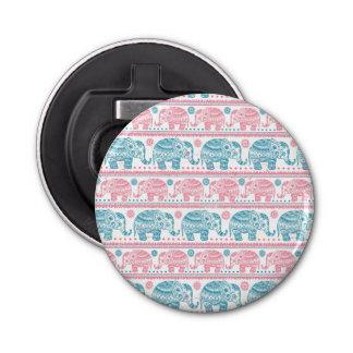 Rose et motif ethnique turquoise d'éléphant