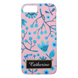 Rose et motif floral bleu personnalisés coque iPhone 7