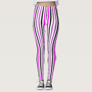 Rose et noir Stripes2 vertical Leggings