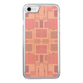 Rose et pêle-mêle géométrique de crème coque carved pour iPhone 7