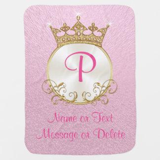 Rose et princesse Baby Blanket PERSONALIZED d'or Couvertures Pour Bébé