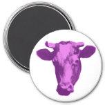 Rose et rétro graphique pourpre de vache aimants