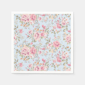 Rose et serviettes chics minables florales bleues serviettes en papier