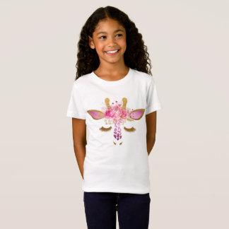 Rose et T-shirt de filles de girafe d'or