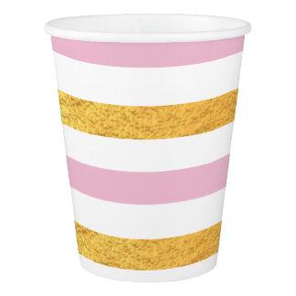 Rose et tasse de partie d'or gobelets en papier