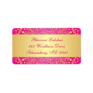 Rose, étiquette de adresse de retour de rouleaux