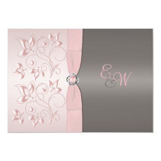 Rose, faire-part de mariage floral gris de