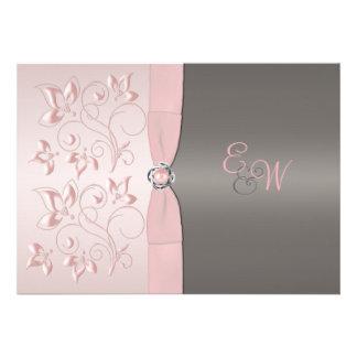 Rose, faire-part de mariage floral gris de monogra