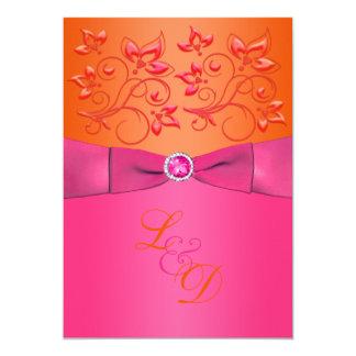 Rose, faire-part de mariage floral orange de