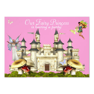 rose féerique d'invitation de château de princesse carton d'invitation  12,7 cm x 17,78 cm