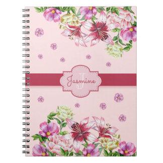 Rose floral de lis et de pivoine carnets à spirale