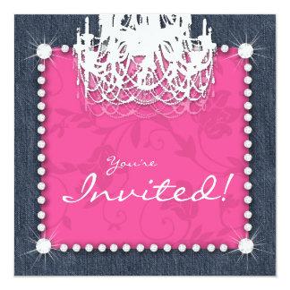 Rose floral de lustre de mariage de diamants du carton d'invitation  13,33 cm