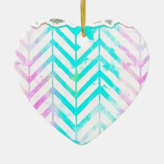 Rose floral et bleu de monogramme élégant ornement cœur en céramique