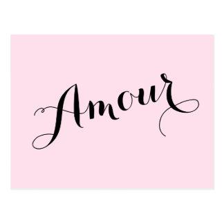 Rose français d'amour d'intrigue amoureuse et carte postale