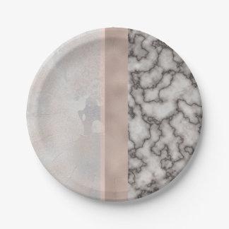 Rose gris blanc géométrique de rose de marbre d'or assiettes en papier