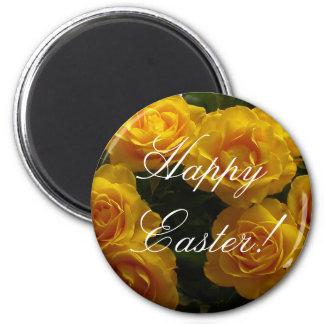 Rose jaune d'aimant heureux de Pâques Magnet Rond 8 Cm
