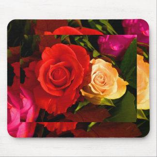 Rose jaune rouge tapis de souris