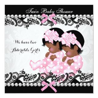 Rose jumeau de baby shower de filles carton d'invitation  13,33 cm