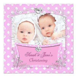 Rose jumeau de baptême de baptême de bébé de carton d'invitation  13,33 cm