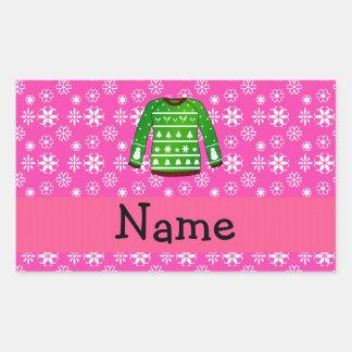 Rose laid vert nommé fait sur commande de chandail sticker rectangulaire