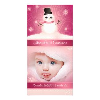 Rose mignon de bonhomme de neige de ęr Noël du béb Cartes De Vœux Avec Photo