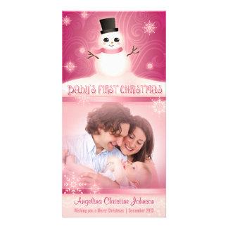 Rose mignon de bonhomme de neige de premier Noël Photocartes Personnalisées
