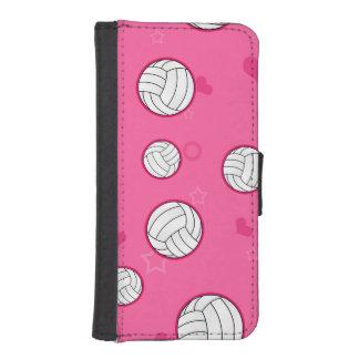 Rose mignon de motif de volleyball coques avec portefeuille pour iPhone 5