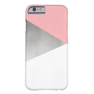 rose moderne élégant d'aluminium argenté de faux coque iPhone 6 barely there