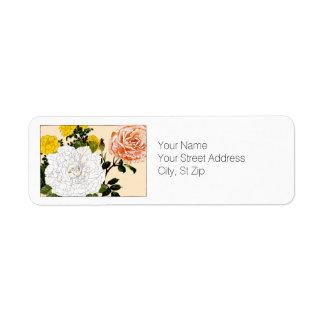 Rose multicolore, art botanique étiquette d'adresse retour