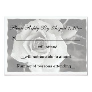 Rose noir et blanc épousant RSVP, notes de réponse Carton D'invitation 8,89 Cm X 12,70 Cm