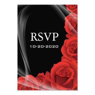 Rose noir et rouge épousant des cartes de réponse carton d'invitation 8,89 cm x 12,70 cm