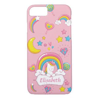Rose nommé fait sur commande de licorne magique à coque iPhone 7