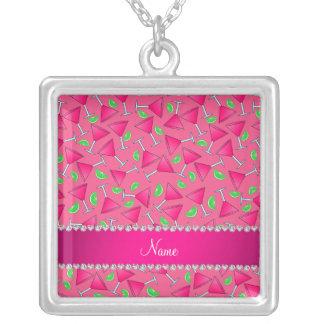 Rose nommé fait sur commande sur les chaux roses pendentif carré