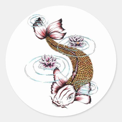 Rose oriental frais Lotus de poissons de carpe de  Autocollants