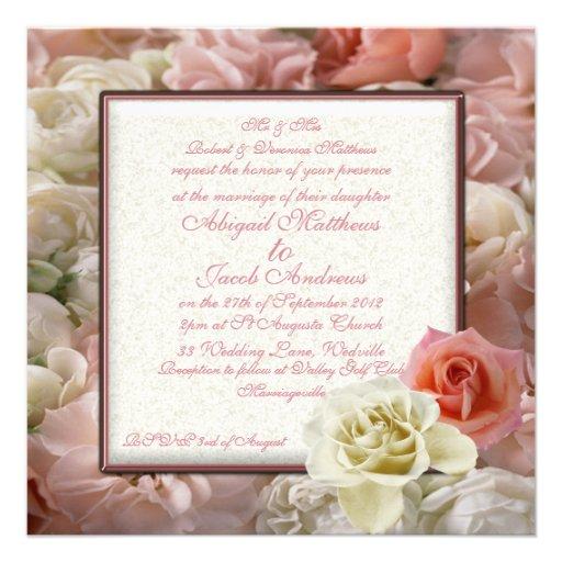rose p le de p che et mariage cr me de rose blanc carton d 39 invitation 13 33 cm zazzle. Black Bedroom Furniture Sets. Home Design Ideas
