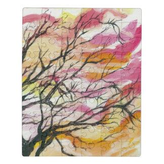 Rose par le puzzle d'acrylique d'arbres