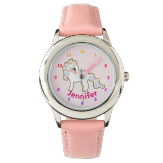 Rose personnalisé de montre de filles de LICORNE -