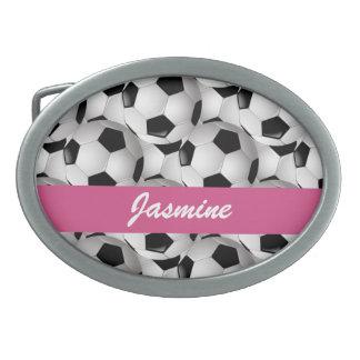 Rose personnalisé de motif de ballon de football boucles de ceinture ovales