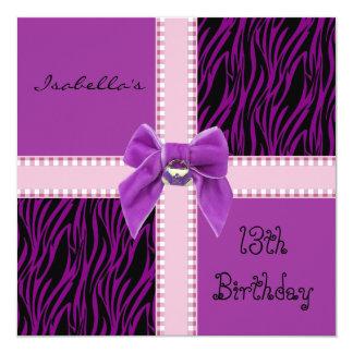 Rose pourpre de 13ème anniversaire de bonbon à carton d'invitation  13,33 cm